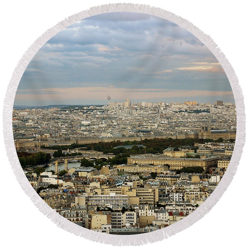 Landscape Round Beach Towel featuring the photograph Paris City View by Ivy Ho