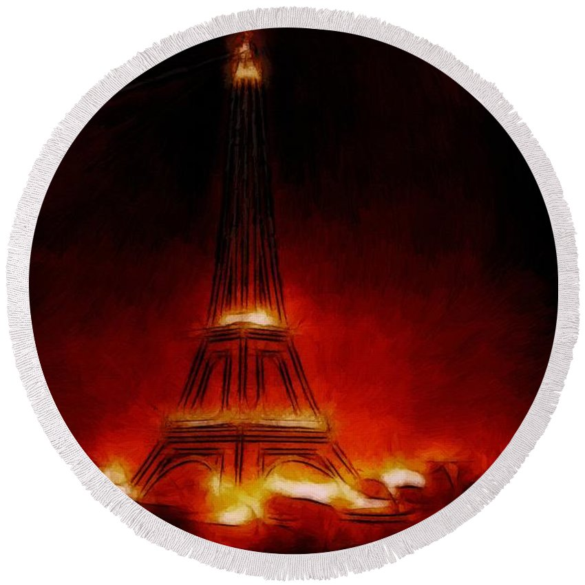 Paris France Night Nights Nightlife Eiffel Tower Light Lights Expressionism Impressionism Red Orange Yellow Glow Glowing Painting City Cityscape Monument Round Beach Towel featuring the painting Paris Nights by Steve K
