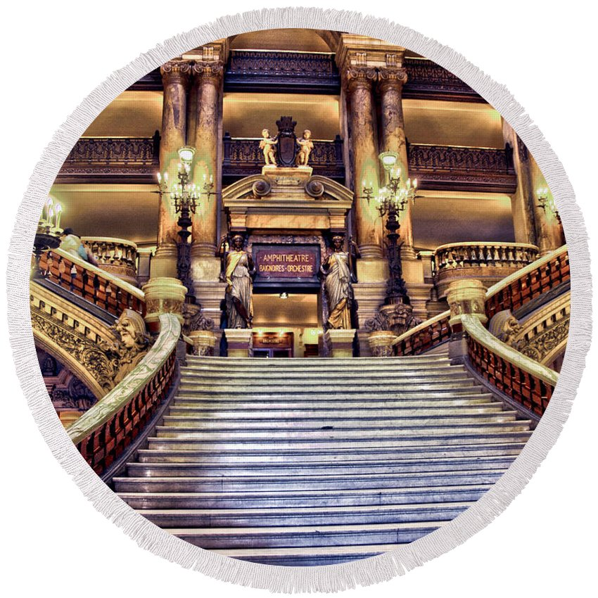 Paris Opera House Round Beach Towel featuring the photograph Paris Opera House Vii Grand Stairway by Jon Berghoff