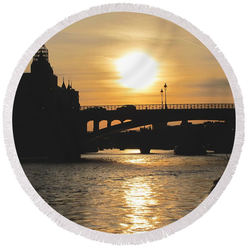 Paris Round Beach Towel featuring the photograph Parisian Sunset by Kathy Corday