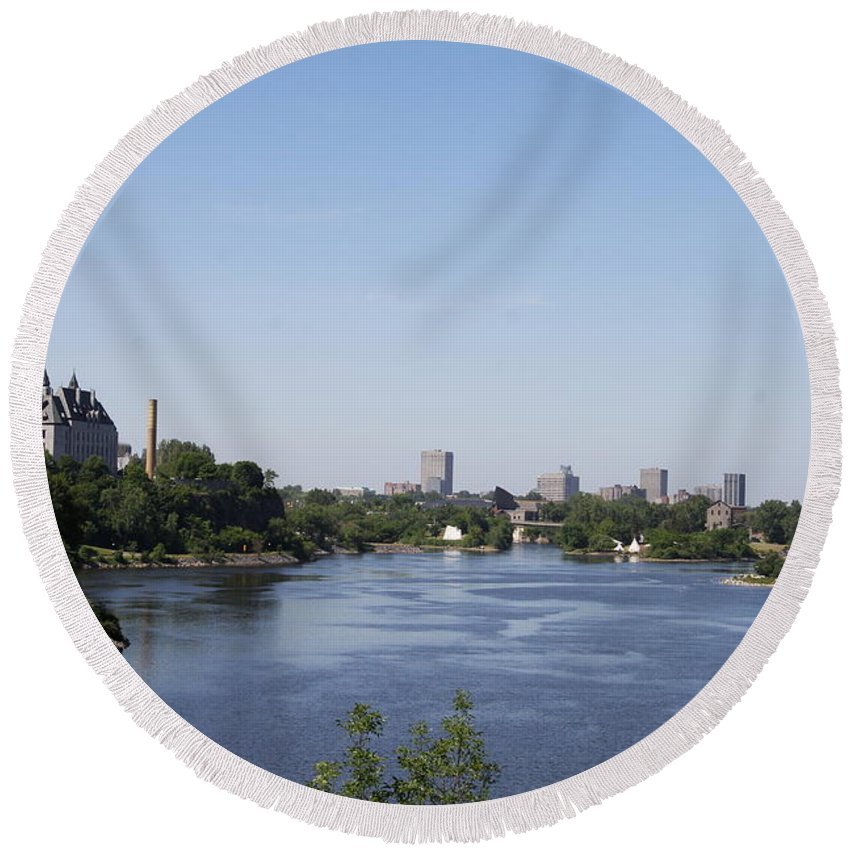 Ottawa River Round Beach Towel featuring the photograph Parliament And Ottawa River by Christiane Schulze Art And Photography