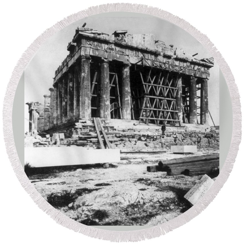 athens Greece Round Beach Towel featuring the photograph Parthenon - C 1901 - Athens Greece by International Images