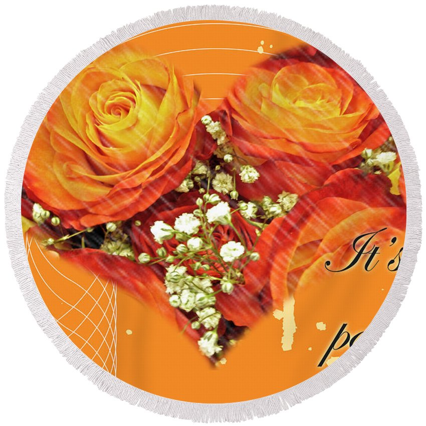 Invitation Round Beach Towel featuring the photograph Party Invitation - Orange Roses by Mother Nature