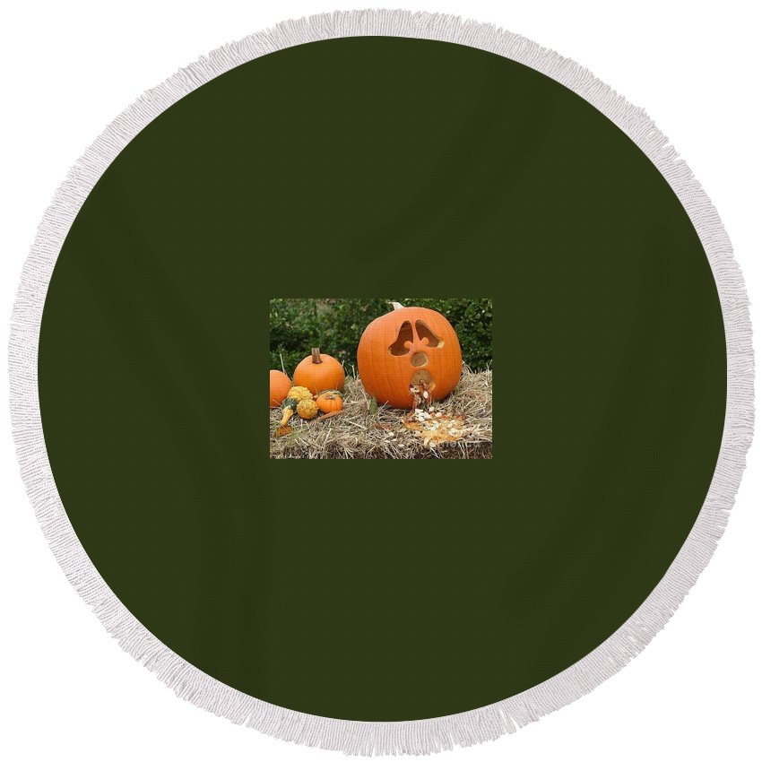 Pumpkins Round Beach Towel featuring the photograph Party Pumpkin by Living Color Photography Lorraine Lynch