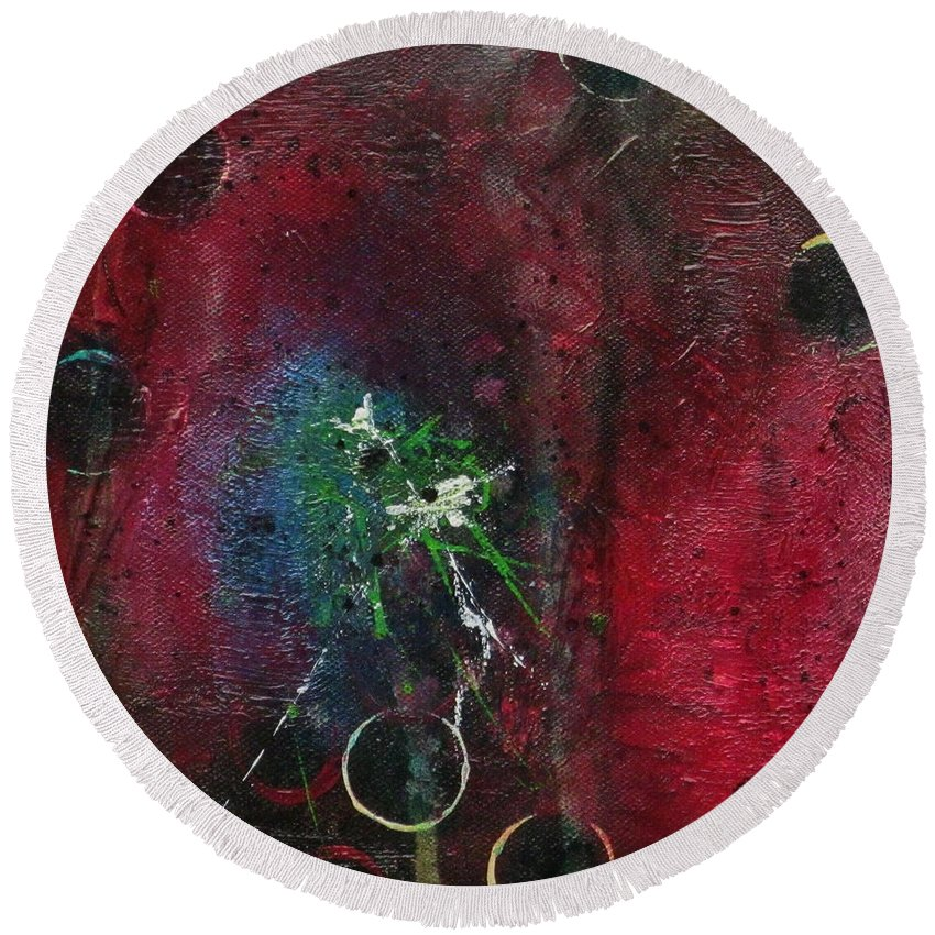 Abstract Painting Round Beach Towel featuring the painting Passion 1 by Nicole Nadeau