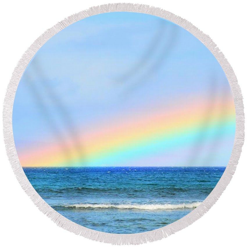 Rainbow Round Beach Towel featuring the photograph Pastel Rainbow by Richard Omura