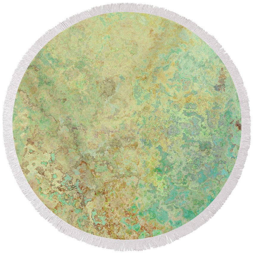 Abstract Round Beach Towel featuring the digital art Pastle Green Stone by Debbie Portwood