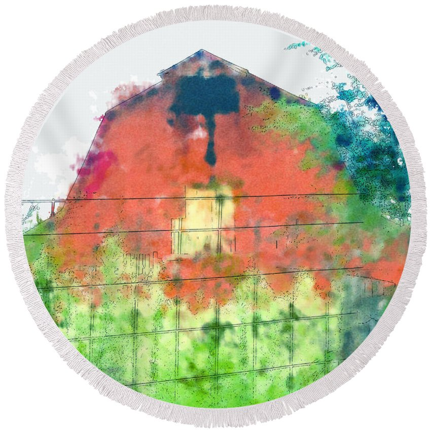 Round Beach Towel featuring the photograph Patched Up Art by Debbie Portwood