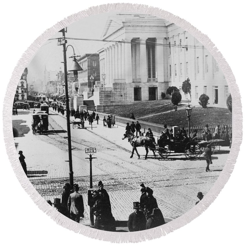 washington Dc Round Beach Towel featuring the photograph Patent Office During Presidential Inauguration - Washington Dc - C 1889 by International Images