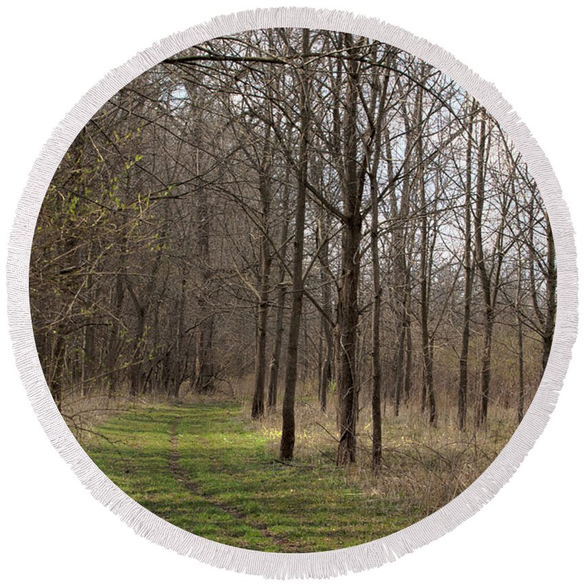 Art Round Beach Towel featuring the photograph Path Of The Trees by Alan Look