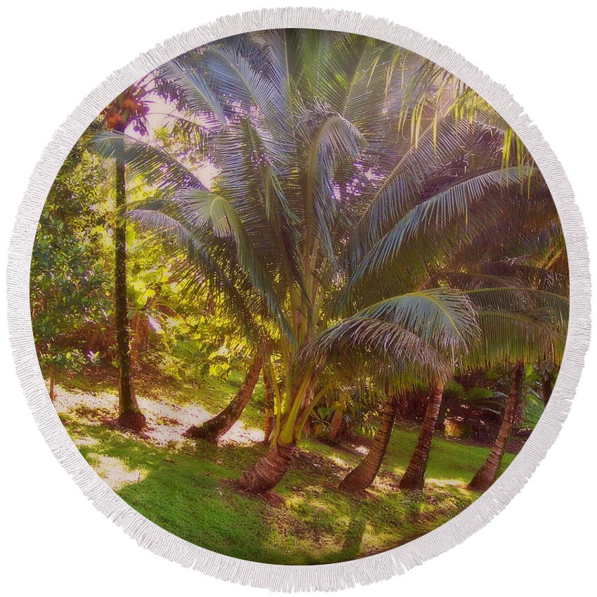Outdoors Round Beach Towel featuring the photograph Pathway by Paulette B Wright