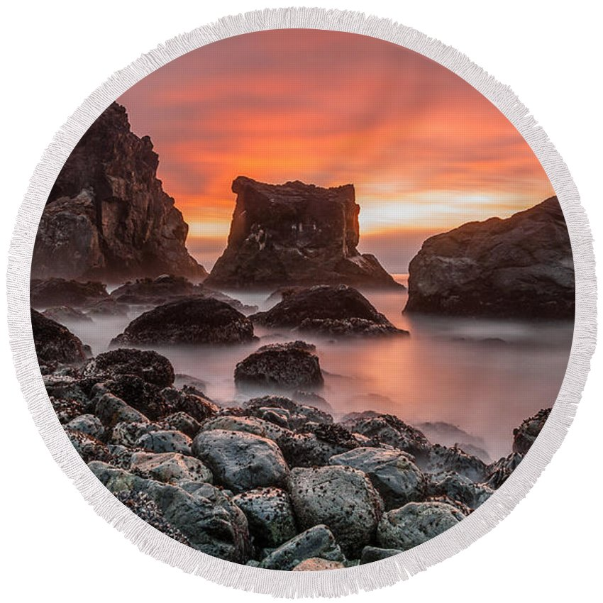 Patrick's Point Round Beach Towel featuring the photograph Patrick's Point Sunset by Greg Nyquist