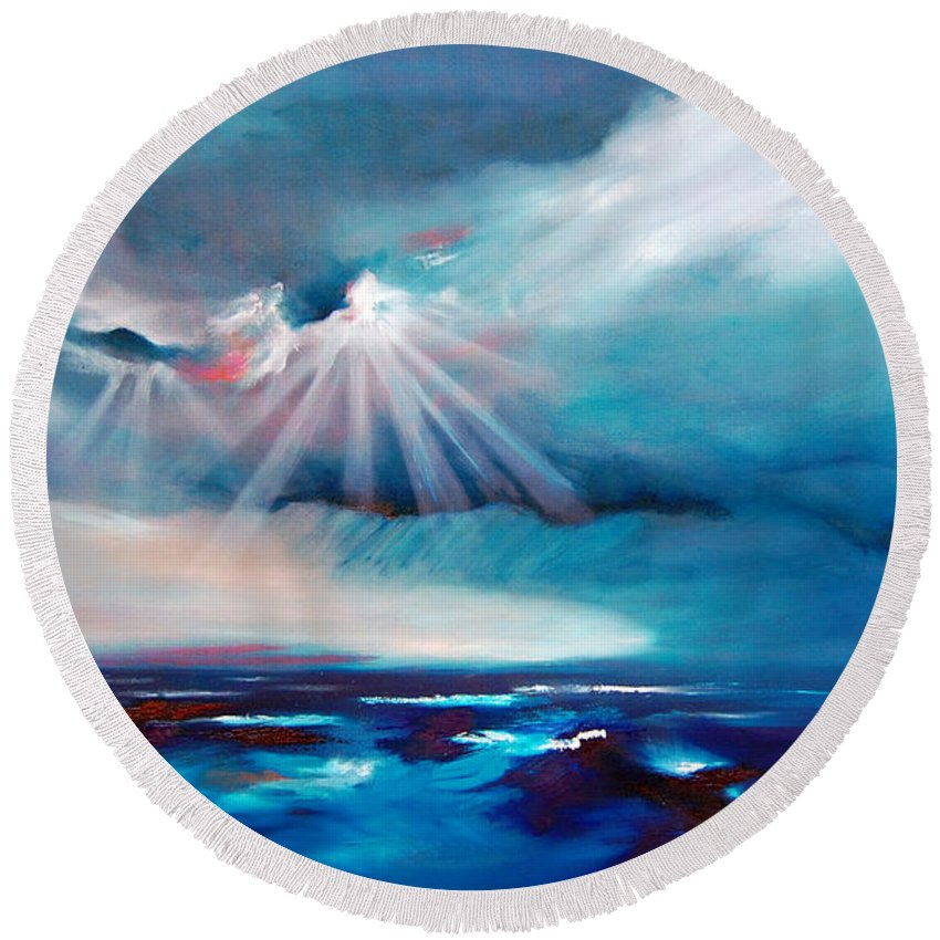 Abstract Round Beach Towel featuring the painting Peace by Jennifer Hickman