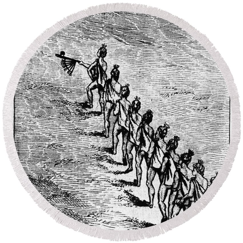 1718 Round Beach Towel featuring the photograph Peace Pipe Ceremony, 1718 by Granger
