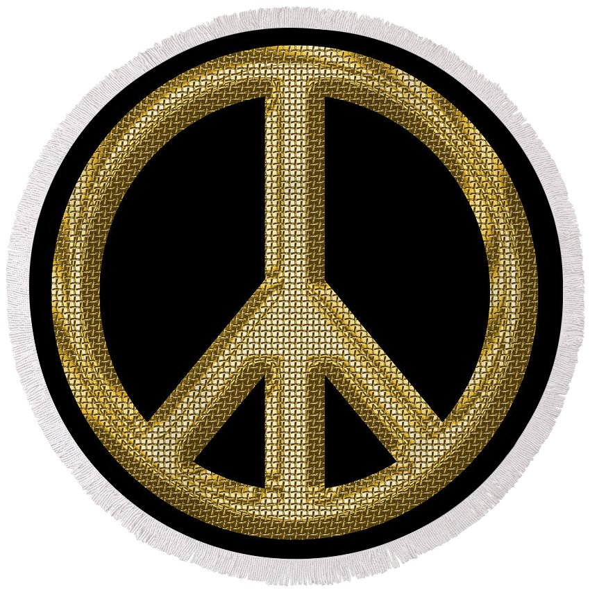 Peace Round Beach Towel featuring the photograph Peace Sign 1 by Andrew Fare