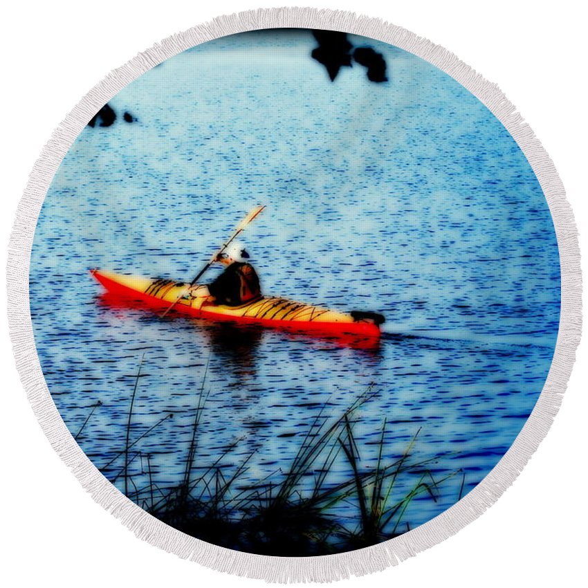 Water Round Beach Towel featuring the photograph Peaceful Canoe Ride Ll by Kathy Sampson