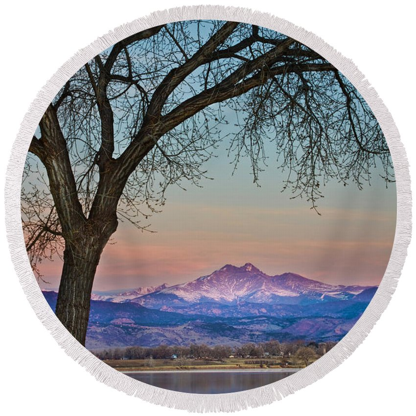 'boulder County' Round Beach Towel featuring the photograph Peaceful Early Morning Sunrise Longs Peak View by James BO Insogna
