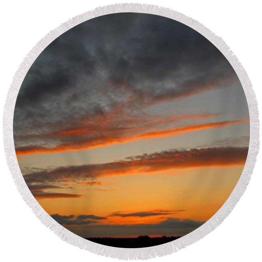 Nature Round Beach Towel featuring the photograph Peaceful Evening II by Debbie Portwood