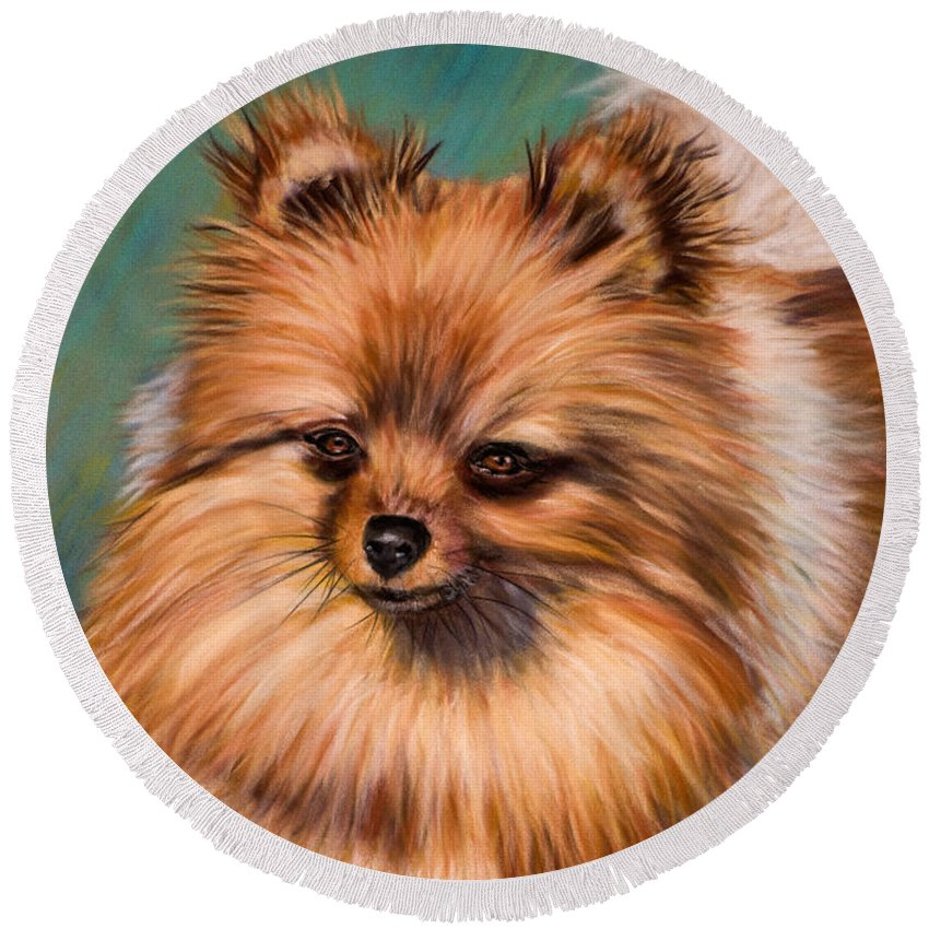Pomeranian Round Beach Towel featuring the painting Peaches And Cream by Michelle Wrighton
