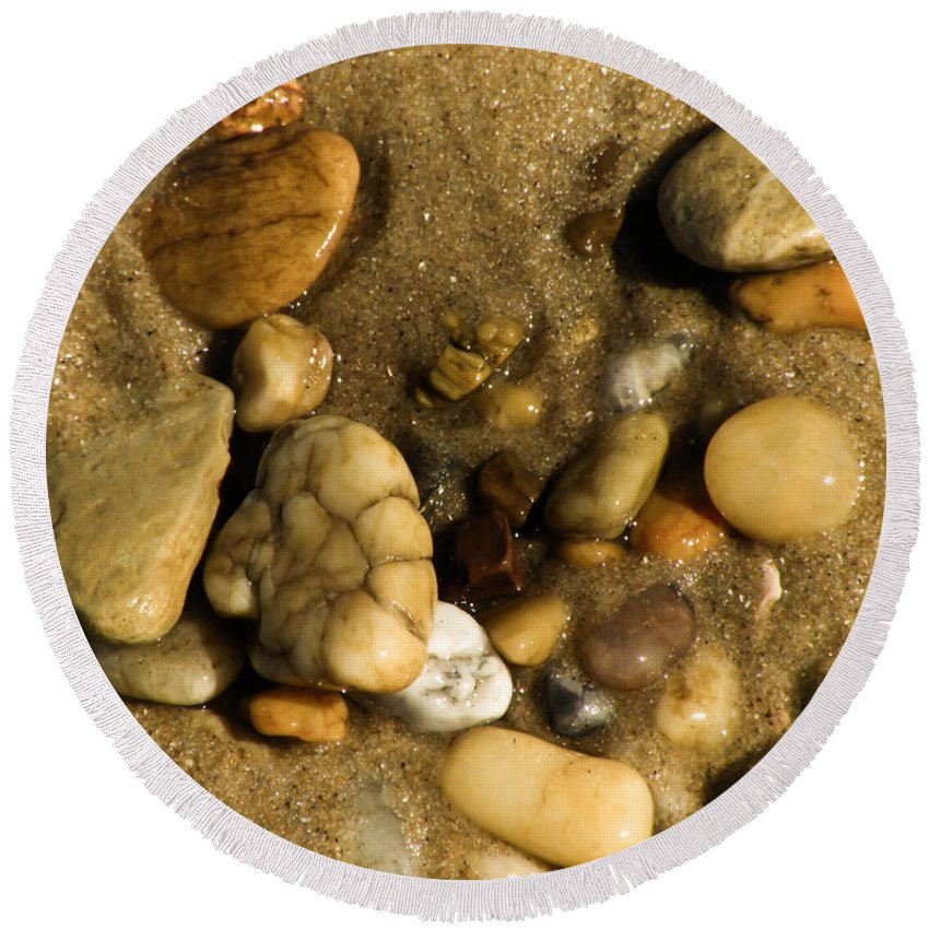 Stone Round Beach Towel featuring the photograph Pebbles by Trish Tritz