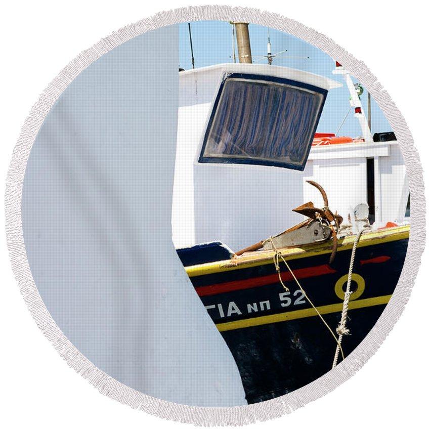 Paros Island Round Beach Towel featuring the photograph Peek-a-boat by Lorraine Devon Wilke
