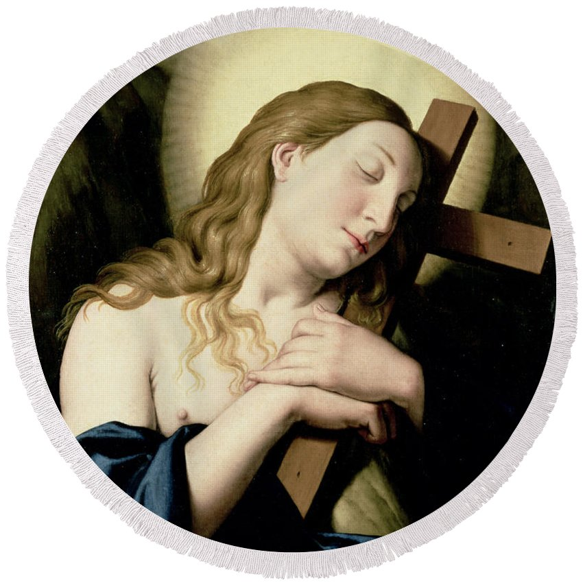 Religion Round Beach Towel featuring the painting Penitent Magdalene by Il Sassoferrato