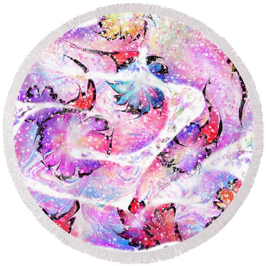 Snake Round Beach Towel featuring the digital art Peppermint Snake by Rachel Christine Nowicki