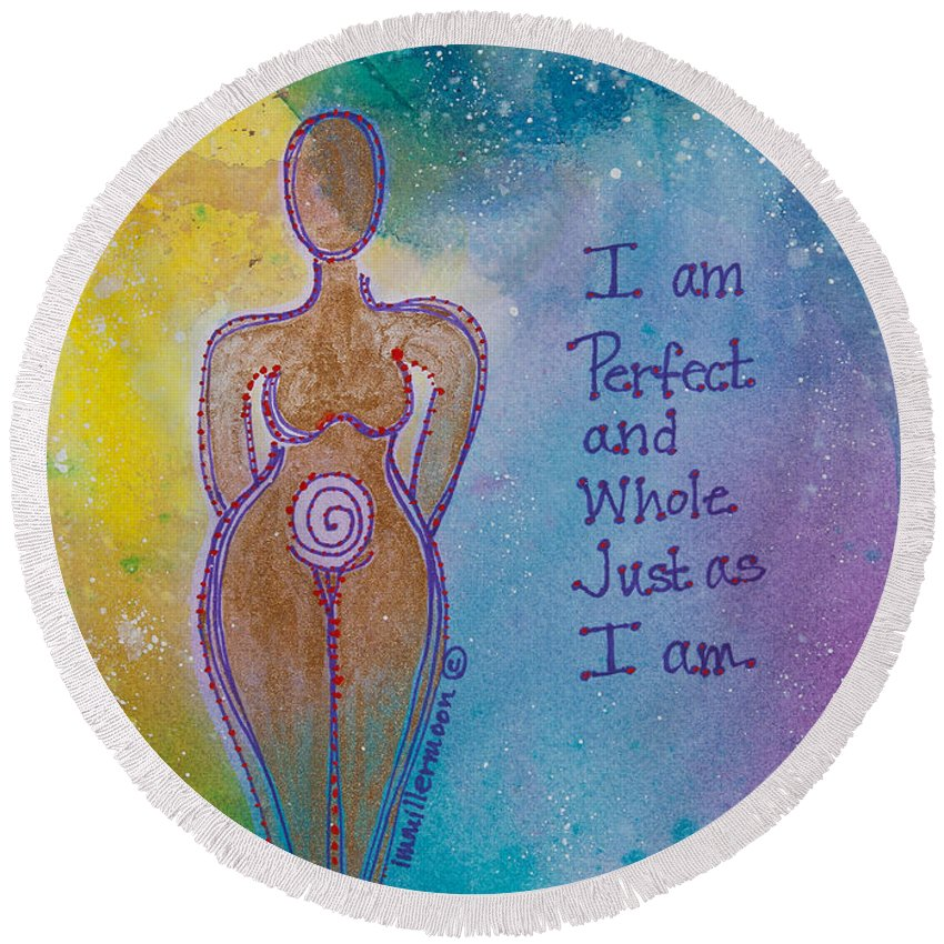 Female Round Beach Towel featuring the painting Perfect And Whole by Ilisa Millermoon