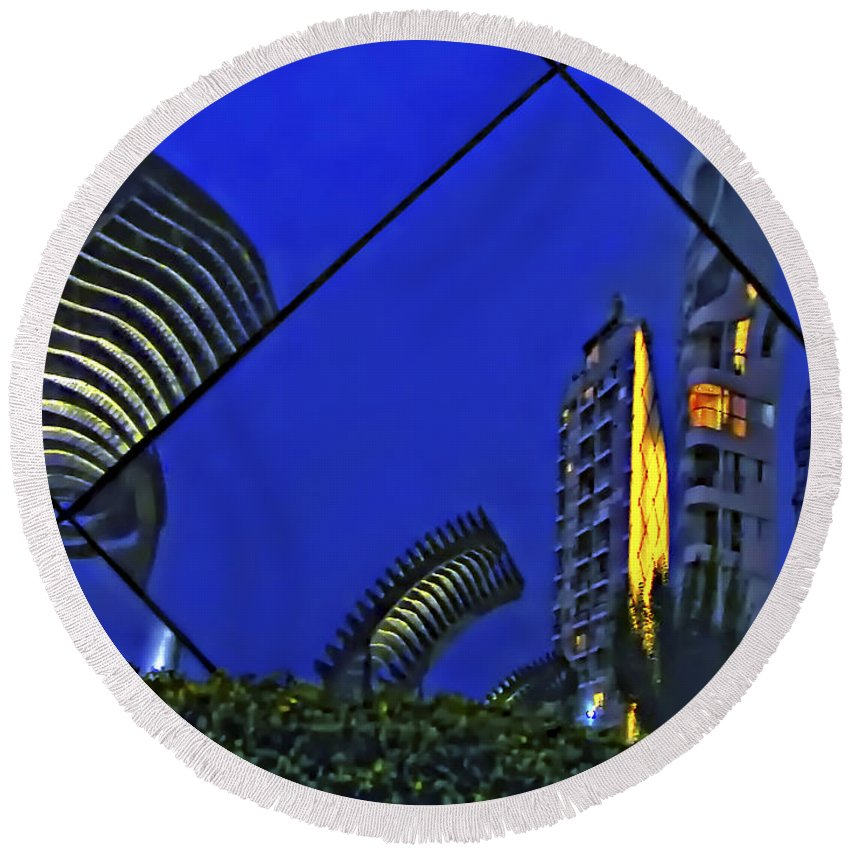 Reflection Round Beach Towel featuring the photograph Peruvian Nights by Steve Harrington