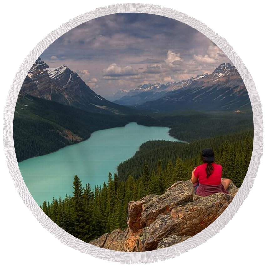 Peyto Lake Round Beach Towel featuring the photograph Peyto Solitude by James Anderson