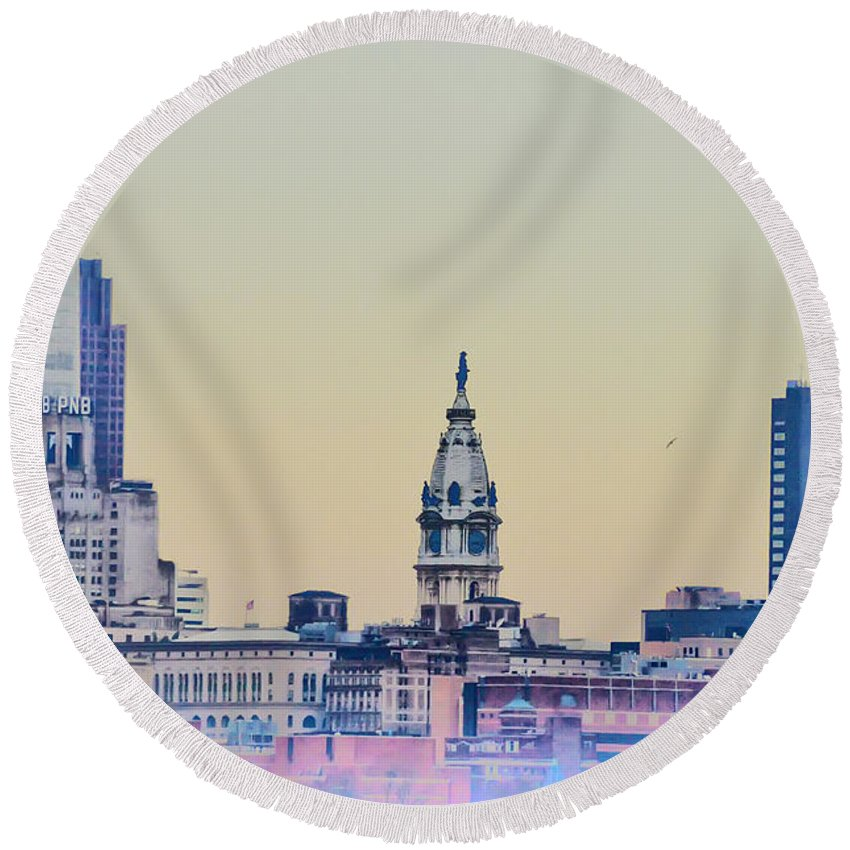 Philadelphia From South Camden Round Beach Towel featuring the photograph Philadelphia From South Camden by Bill Cannon