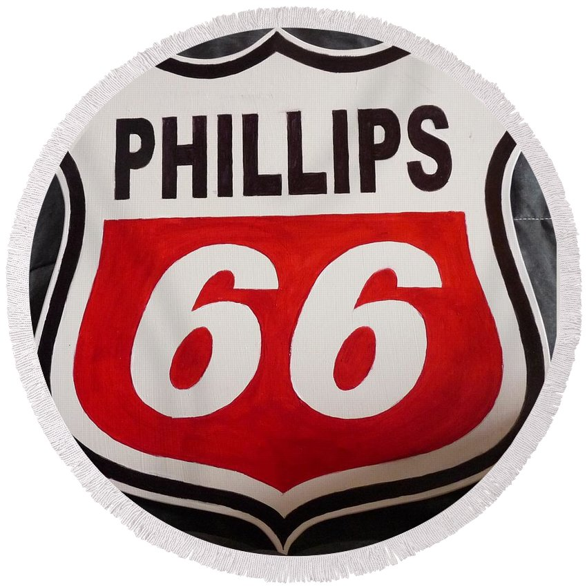 Gas Signs Round Beach Towel featuring the painting Phillips 66 by Richard Le Page
