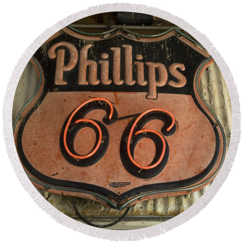 Route 66 Round Beach Towel featuring the photograph Phillips 66 Vintage Sign by Bob Christopher