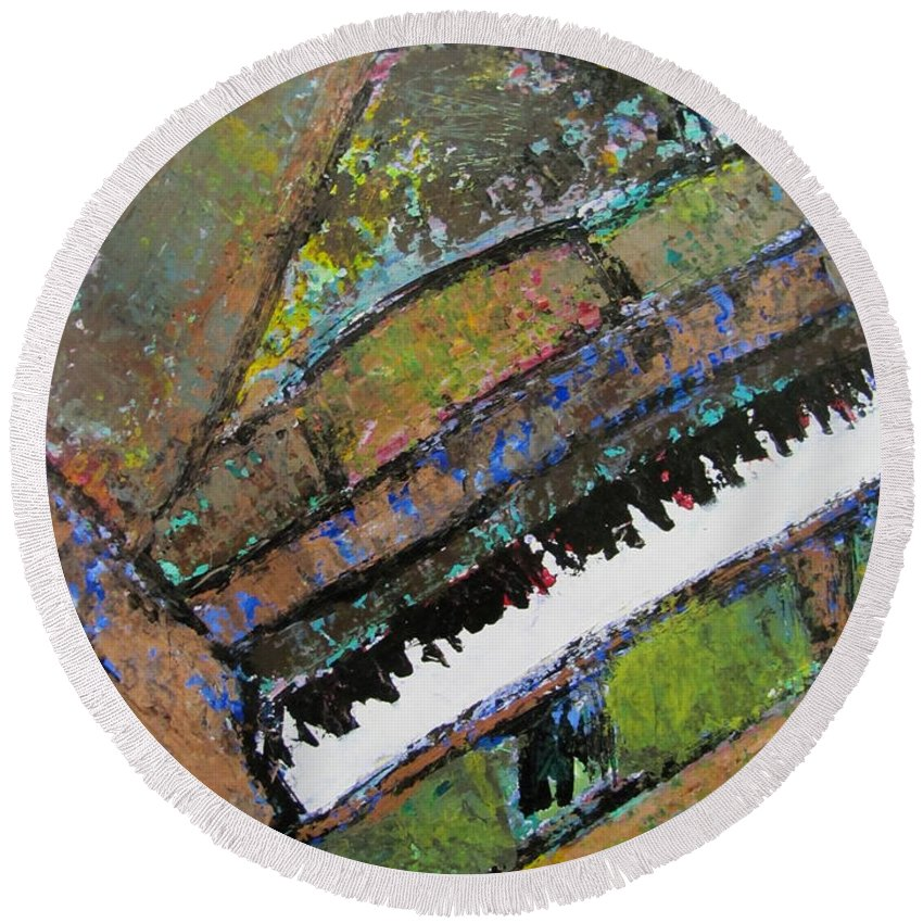 Music Round Beach Towel featuring the painting Piano Aqua Wall - Cropped by Anita Burgermeister