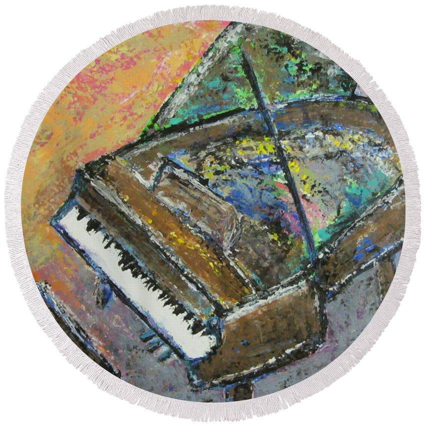 Piano Round Beach Towel featuring the painting Piano Study 4 by Anita Burgermeister