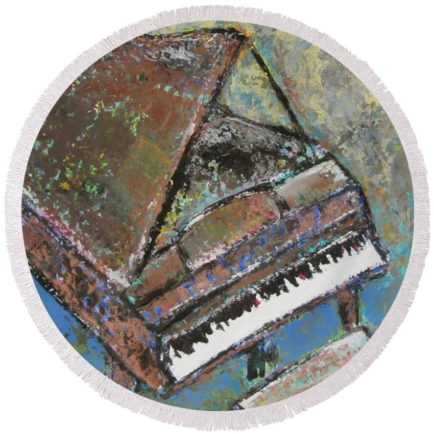 Piano Round Beach Towel featuring the painting Piano Study 5 by Anita Burgermeister