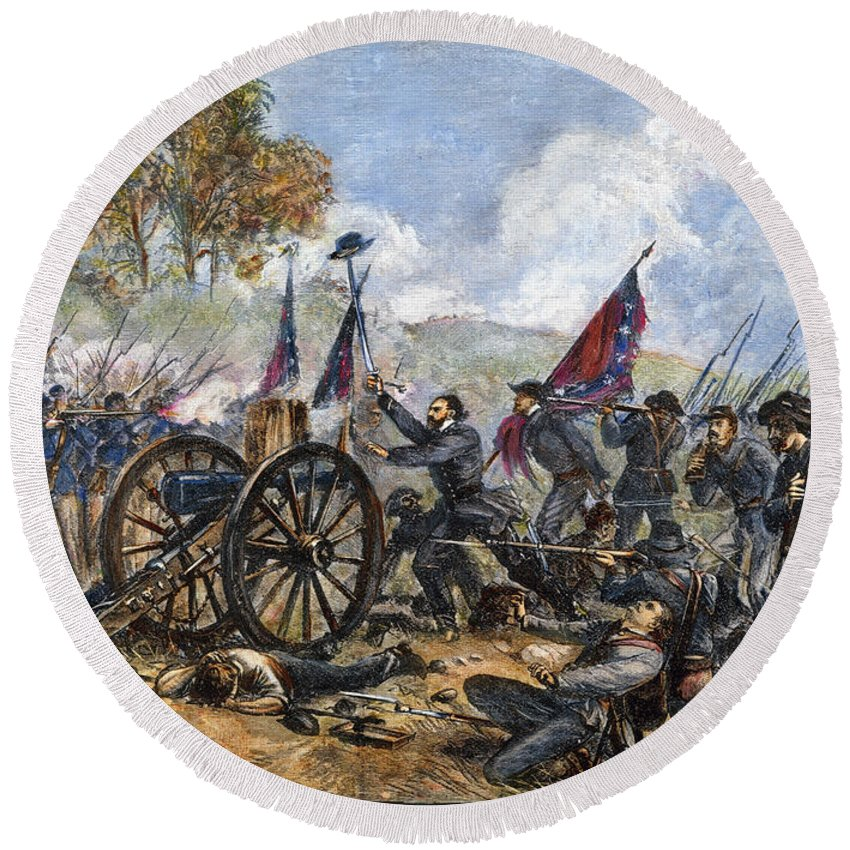 1863 Round Beach Towel featuring the photograph Picketts Charge, 1863 by Granger