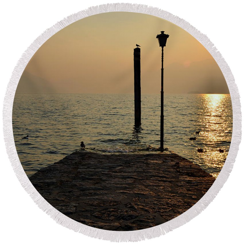 Pier Round Beach Towel featuring the photograph Pier And Sunset by Mats Silvan