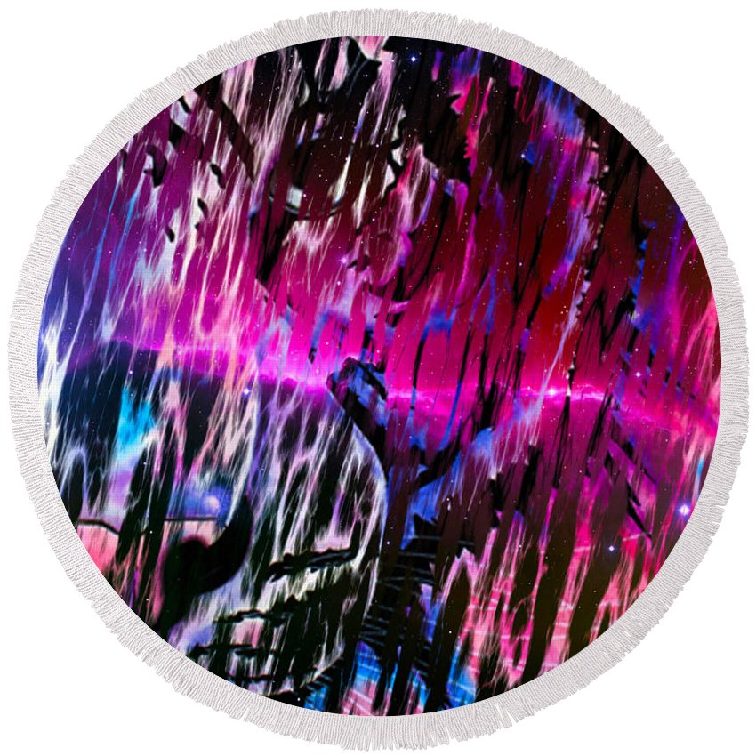 Surreal Paintings Photographs Round Beach Towel featuring the digital art Piercing Aurora by Mayhem Mediums