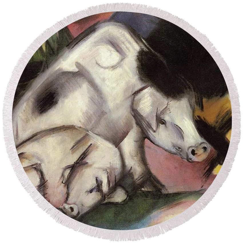 Pigs Round Beach Towel featuring the painting Pigs by Franz Marc