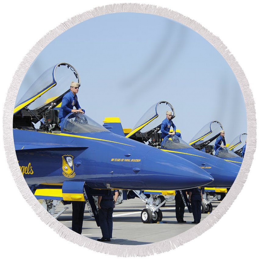 Blue Angels Round Beach Towel featuring the photograph Pilots Of The Blue Angels Flight by Stocktrek Images
