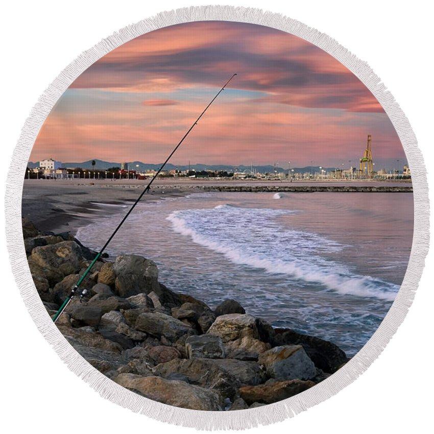 Pinedo Beach Round Beach Towel featuring the photograph Pinedo. Valencia. Spain by Juan Carlos Ferro Duque