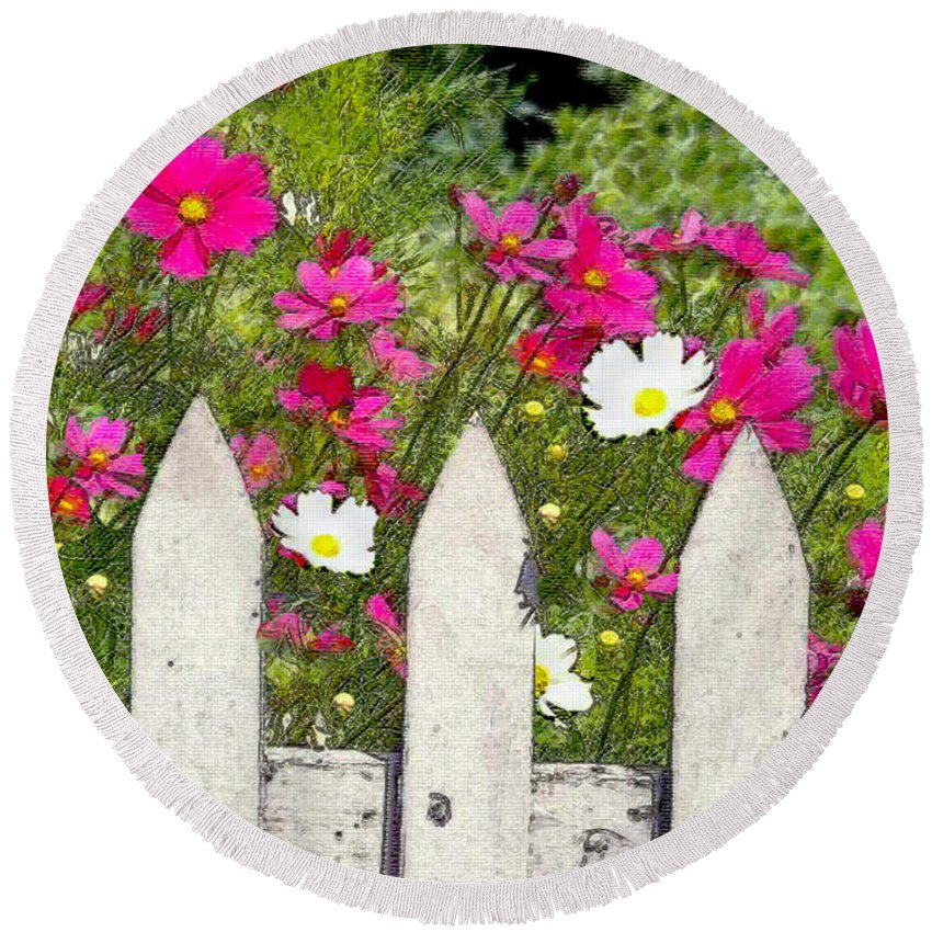 Round Beach Towel featuring the painting Pink Cosmos Flowers And White Picket Fence by Elaine Plesser