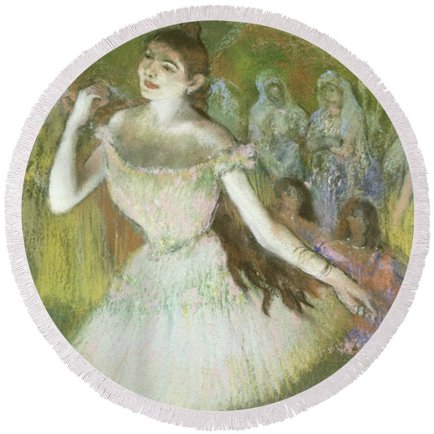 Pink Round Beach Towel featuring the pastel Pink Dancer by Edgar Degas