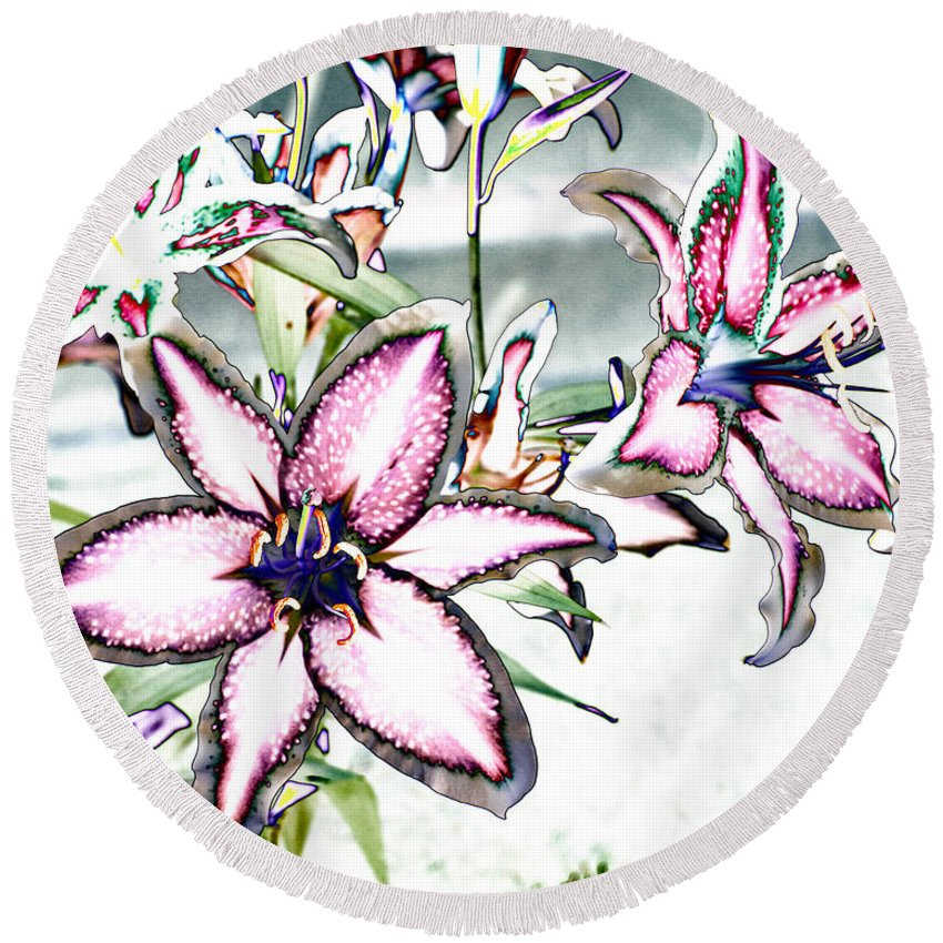 Lilies Round Beach Towel featuring the photograph Pink Lilies by Diana Haronis
