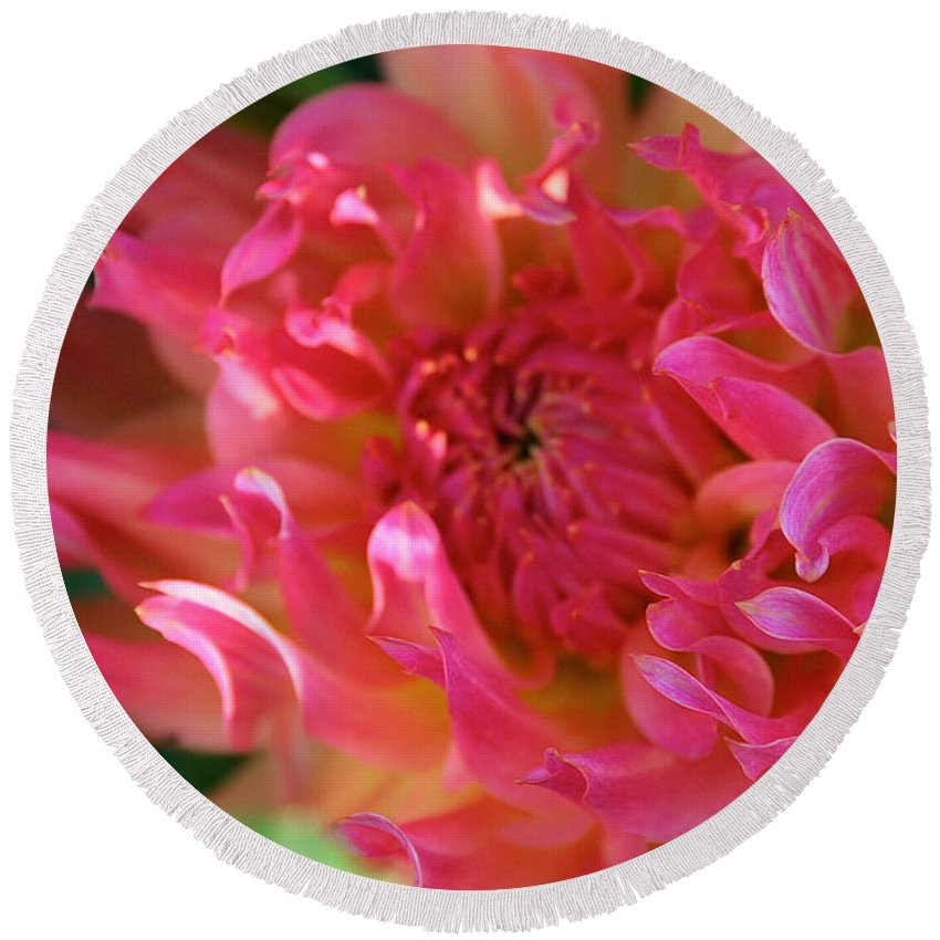 Landscape Round Beach Towel featuring the photograph Pink Petal Flames by Susan Herber