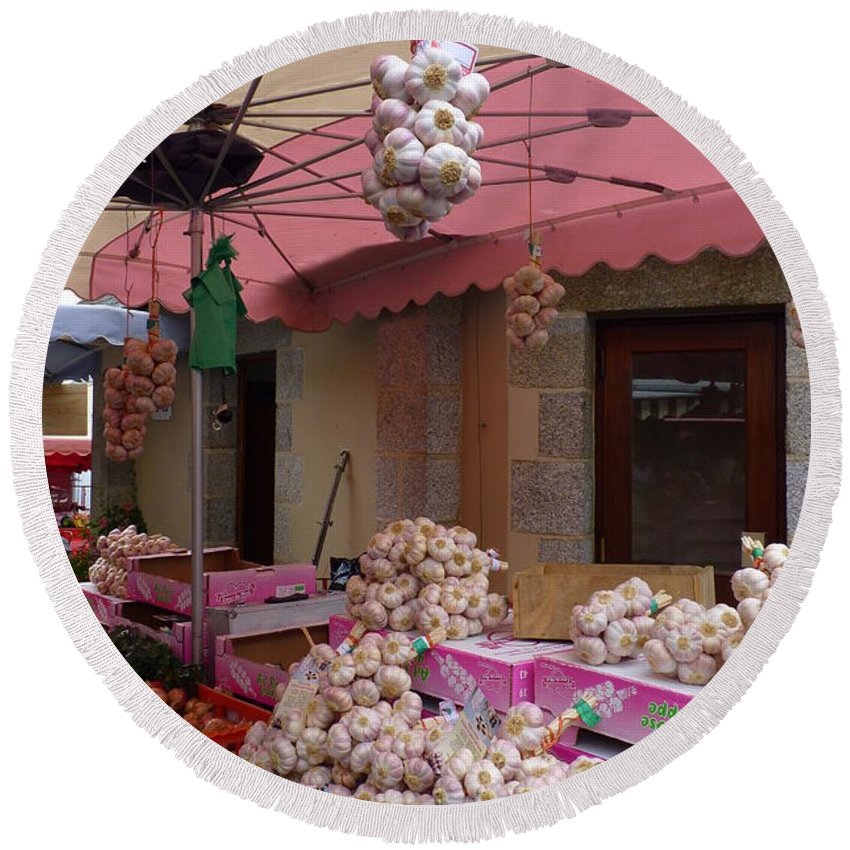 Garlic Round Beach Towel featuring the photograph Pink Umbrella And Garlic by Carla Parris