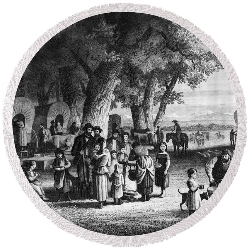 19th Century Round Beach Towel featuring the photograph Pioneer Camp by Granger