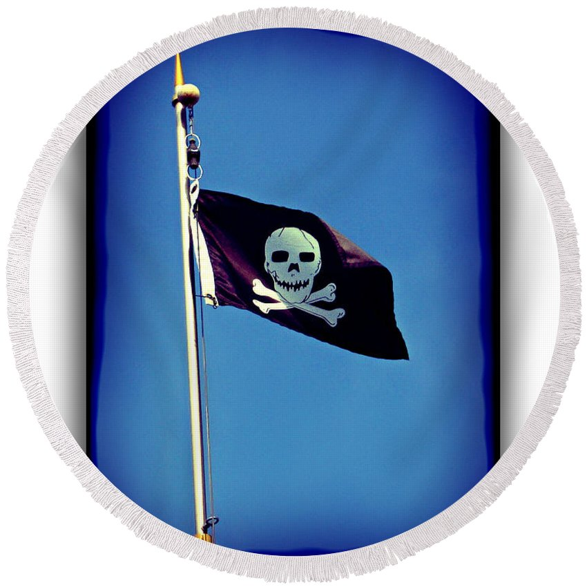2d Round Beach Towel featuring the photograph Pirate Flag by Brian Wallace