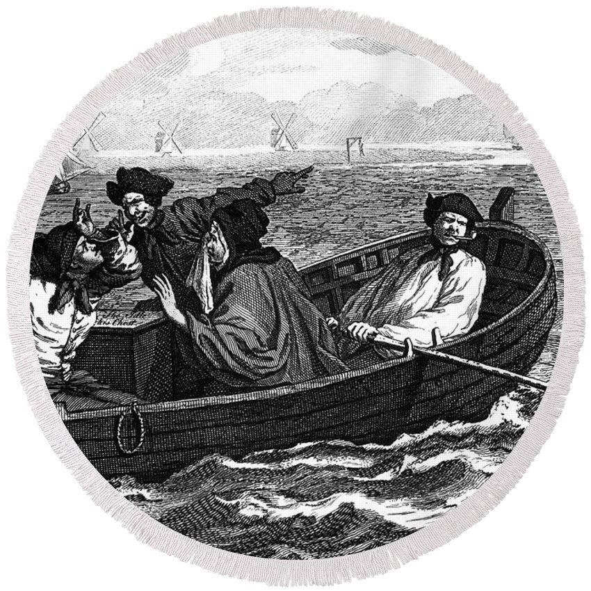 18th Century Round Beach Towel featuring the photograph Pirates, 18th Century by Granger